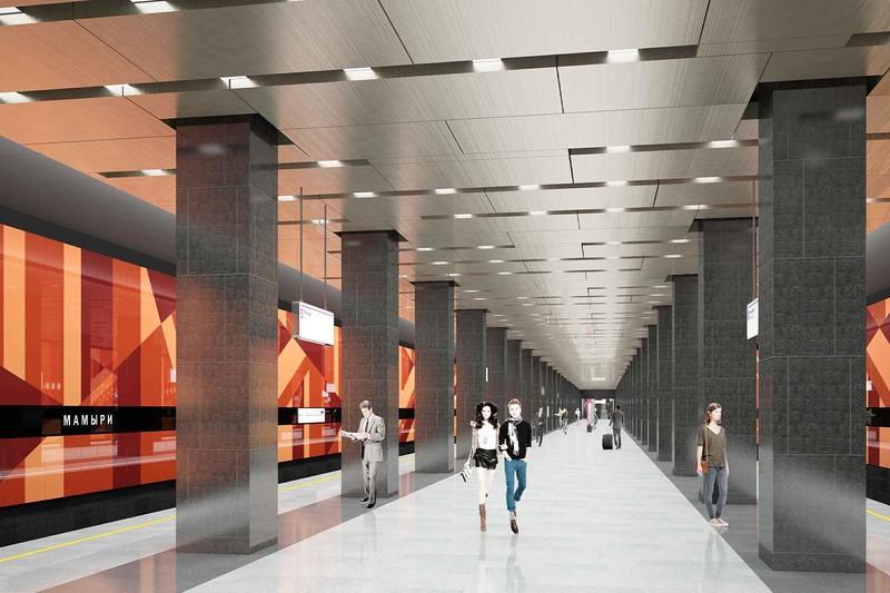 Станцию метро «Мамыри» облицуют камнем оранжевого цвета